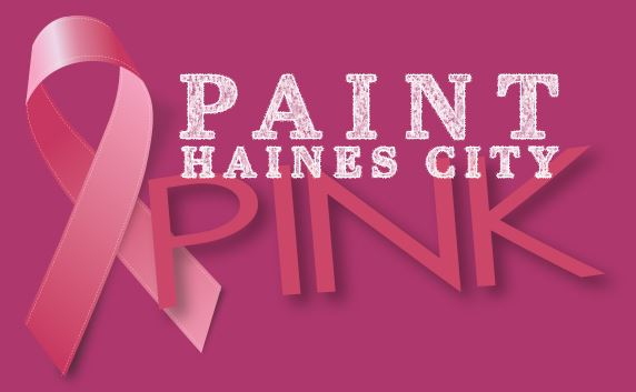 "Pink Breast Cancer Awareness Ribbon with text ""Paint Haines City Pink"""